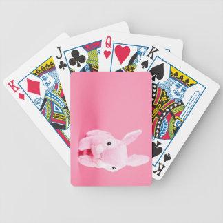 Conejito rosado lindo barajas de cartas