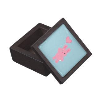 Conejito rosado lindo cajas de recuerdo de calidad