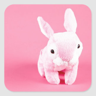 Conejito rosado lindo colcomanias cuadradass