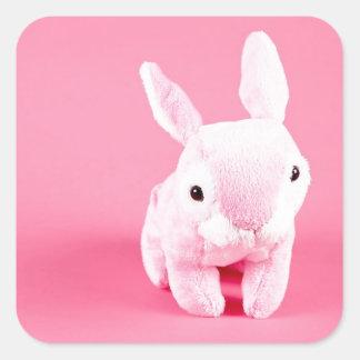 Conejito rosado lindo pegatina cuadrada