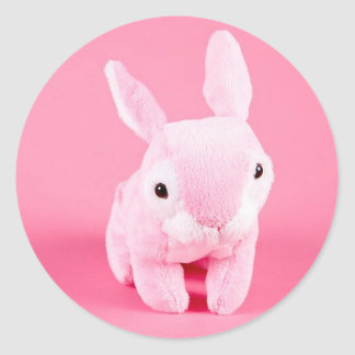 Conejito rosado lindo pegatina redonda