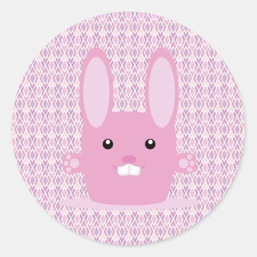 Conejito rosado etiqueta redonda