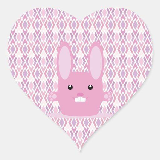 Conejito rosado pegatina corazón personalizadas