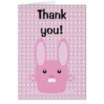 Conejito rosado tarjeta de felicitación