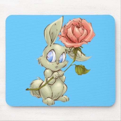 Conejito tímido y Mousepad color de rosa