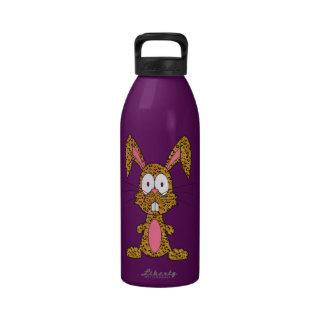 Conejito tonto del leopardo botellas de agua reutilizables