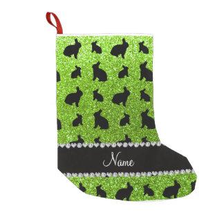 Conejito verde de neón conocido personalizado del bota navideña pequeña