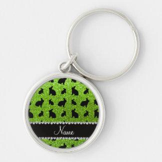 Conejito verde de neón conocido personalizado del llaveros personalizados