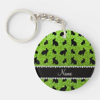 Conejito verde de neón conocido personalizado del llaveros