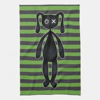 Conejito verde y negro del gótico toallas de mano
