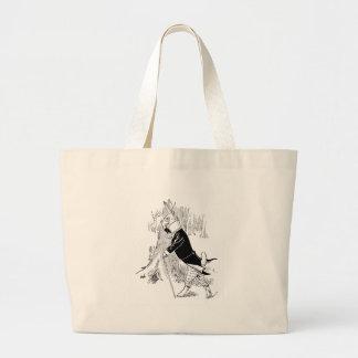Conejito vestido para arriba por una fecha bolsa tela grande