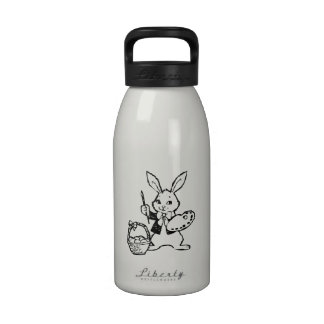 Conejito y cesta de pascua botella de agua