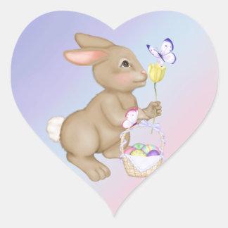 Conejito y cesta de pascua pegatinas corazon personalizadas