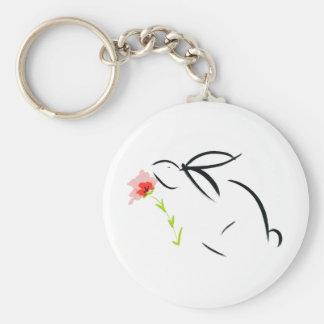 Conejito y flor llavero