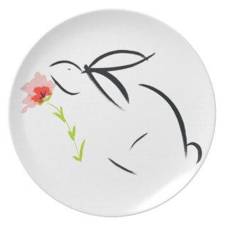 Conejito y flor plato