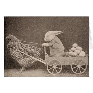 Conejito y gallina, tarjeta de felicitación
