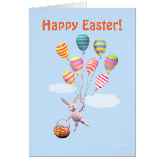 Conejito y globos felices de pascua felicitaciones