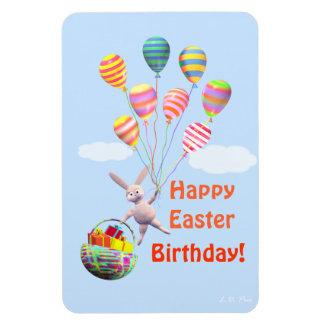 Conejito y globos felices del cumpleaños de Pascua Iman Rectangular