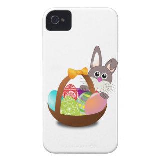 Conejito y huevos coloridos de pascua Case-Mate iPhone 4 protectores