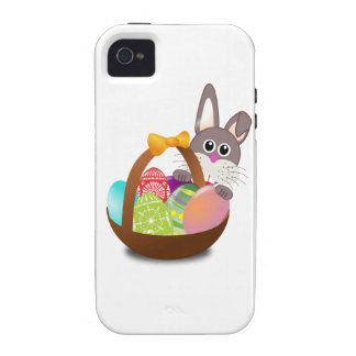 Conejito y huevos coloridos de pascua vibe iPhone 4 carcasa