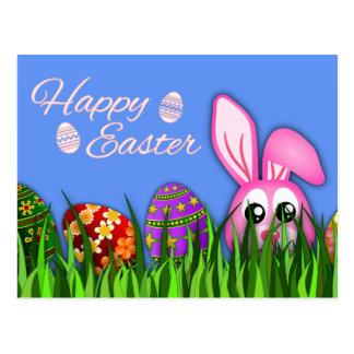 Conejito y huevos felices lindos de pascua en postales