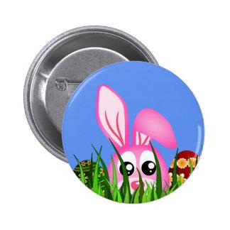 Conejito y huevos lindos de pascua en botones chapa redonda 5 cm