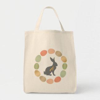Conejito y huevos modernos de pascua del vintage bolsa tela para la compra
