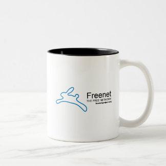 Conejito y nombre del freenet taza de café de dos colores