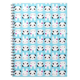 Conejito y panda lindos estupendos de Kawaii Libros De Apuntes Con Espiral