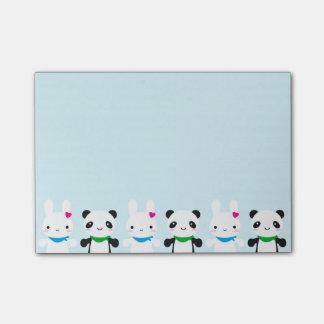 Conejito y panda lindos estupendos de Kawaii Post-it Notas