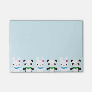 Conejito y panda lindos estupendos de Kawaii Notas Post-it®