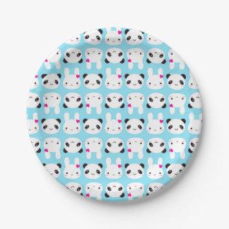 Conejito y panda lindos estupendos de Kawaii Plato De Papel De 7 Pulgadas