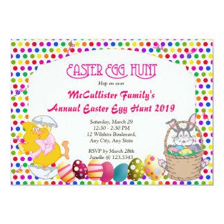 """Conejito y polluelo de la caza del huevo de Pascua Invitación 4.5"""" X 6.25"""""""
