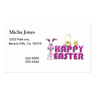 Conejito y polluelo felices de pascua plantilla de tarjeta de negocio