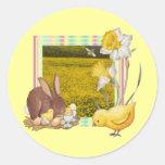 Conejito y polluelo pegatina redonda