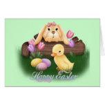 Conejito y polluelo tarjeta de felicitación