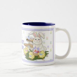 Conejito y polluelos de pascua taza de café de dos colores