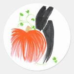 Conejito y pumpkin01 etiquetas redondas