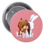 Conejito Y Tigre, Chibi Pin Redondo 7 Cm