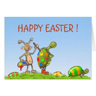 conejito y tortugas de pascua tarjeta de felicitación