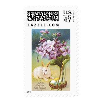 Conejito y violetas de pascua timbres postales