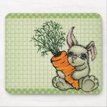 Conejito y zanahoria alfombrillas de raton