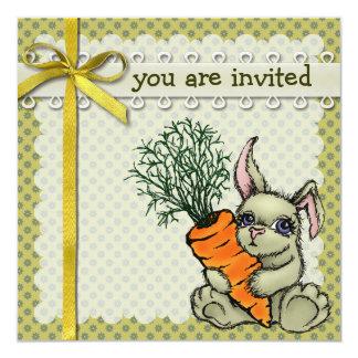 """Conejito y zanahoria invitación 5.25"""" x 5.25"""""""