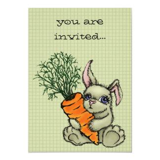 """Conejito y zanahoria invitación 5"""" x 7"""""""