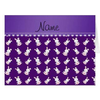 Conejitos blancos púrpuras conocidos tarjeta de felicitación grande