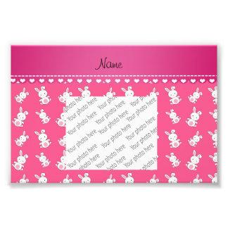 Conejitos blancos rosados conocidos personalizados fotografía