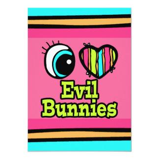 """Conejitos brillantes del mal del amor del corazón invitación 4.5"""" x 6.25"""""""