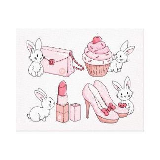 Conejitos con la materia rosada impresión en lona estirada
