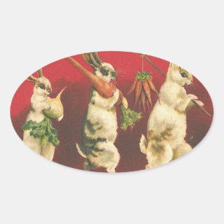 Conejitos con los pegatinas de las zanahorias pegatina ovalada