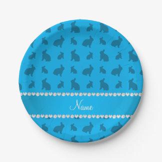 Conejitos conocidos personalizados del azul de platos de papel
